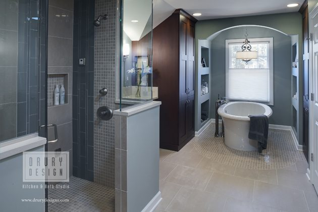 Award winning transitional master bath design drury for Award winning bathroom designs