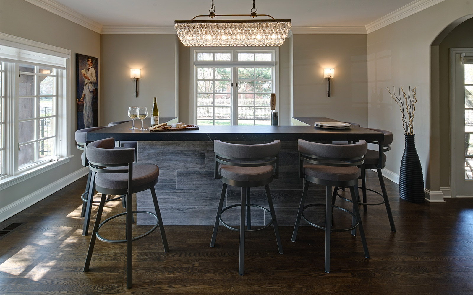 Living room turned formal bar drury design - What to do with a formal living room ...
